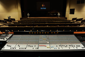 HiFi Doc installation of speaker sound system, subwoofer cabinets, 48 channel mixing console
