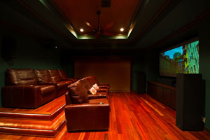 Home theater: movie theater room in residential home. Surround sound system like the movies.